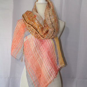 CHICOS Colorful Linen Blend Scarf Wrap